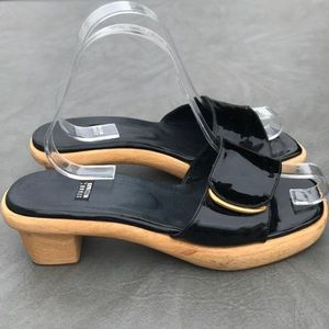 Stuart Weitzman black patent leather sandals